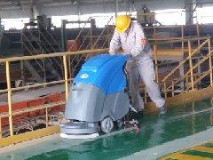 山东济宁海螺水泥厂用洗地机清洗环氧地坪
